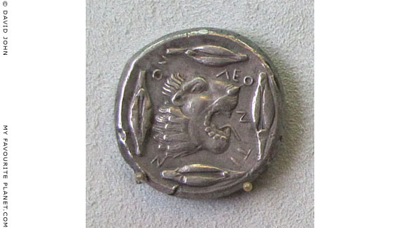 Silver tetradrachm from Leontinoi, Sicily, around 475 BC at The Cheshire Cat Blog