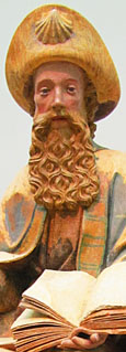 Statue of Apostle James tthe Elder (Jacobus), Spain or southern France 15th century AD, at The Cheshire Cat Blog