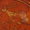 hare, detail of a 6th/7th century deorated Byzantine plate at The Cheshire Cat Blog