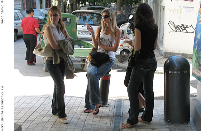 Street-corner posers in Athens at The Cheshire Cat Blog