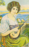 Detail from a print of a painting of a yound Greek woman playing a bouzouki. In a junk shop, Monastiraki, Athens, Greece at The Cheshire Cat Blog