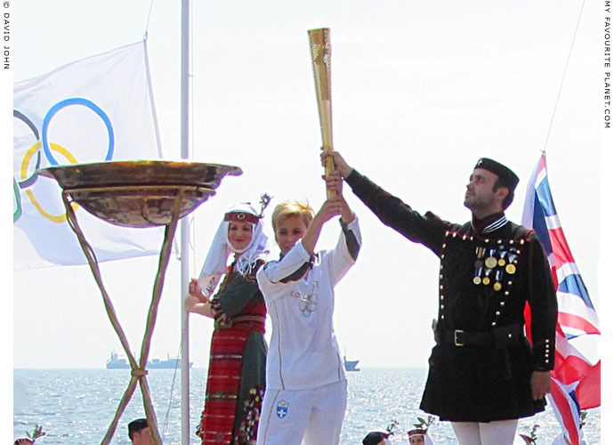 The Olympic flame arrives in Thessaloniki, Greece at The Cheshire Cat Blog