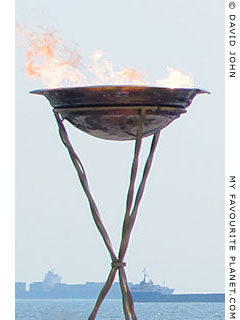 The Olympic flame in Thesaloniki, Macedonia at The Cheshire Cat Blog