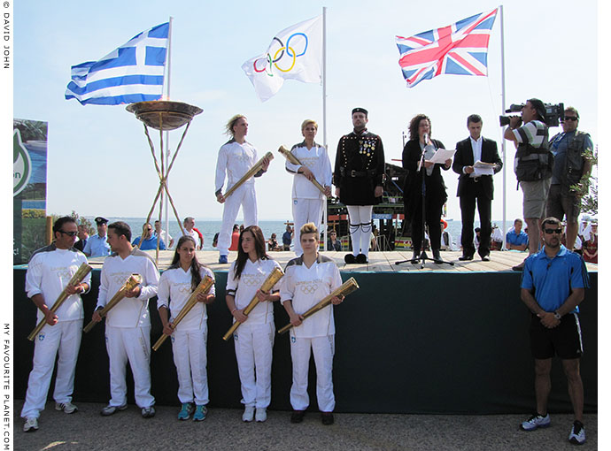 Greek Olympic torchbearers in Thessaloniki, Greece, at The Cheshire Cat Blog