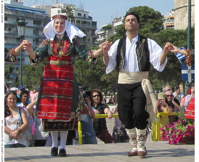 Young Greeek dancers in traditional Macedonian costumes, in Thessaloniki, Greece, at The Cheshire Cat Blog