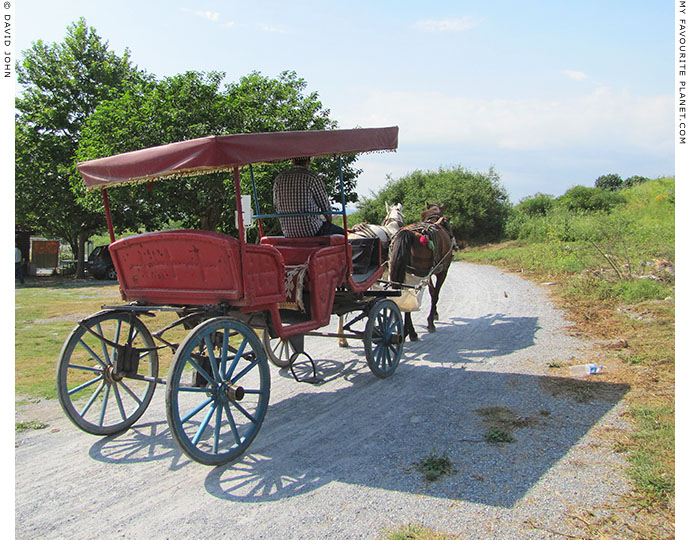 A horse-drawn carriage leaving Ephesus, Turkey at The Cheshire Cat Blog