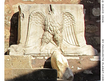 A Roman marble table leg with a relief of an eagle, from the Synagogue of Sardis, Turkey