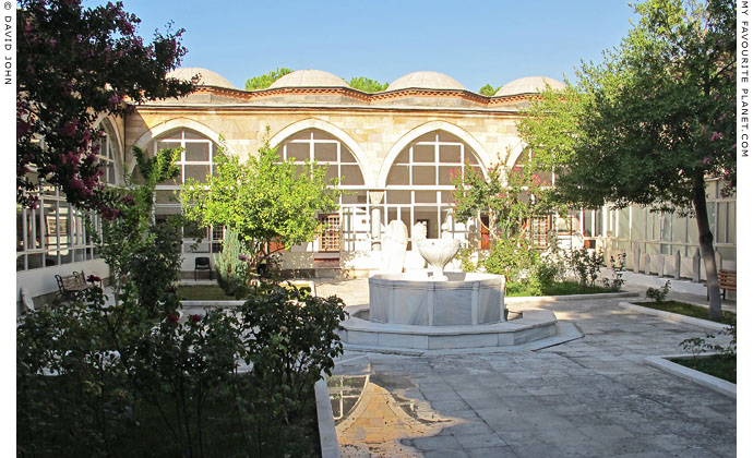 The inner courtyard of the old Manisa Archaeological Museum, in the Muradaiye Medresesi, Turkey at The Cheshire Cat Blog