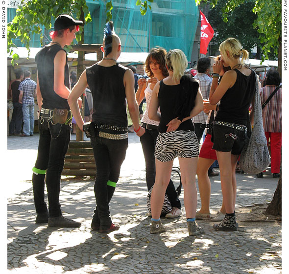 Berlin punks on Boxhagener Platz at The Cheshire Cat Blog