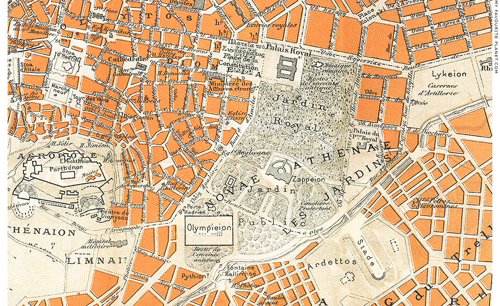 19th century map of Athens by L. Thuillier at The Cheshire Cat Blog