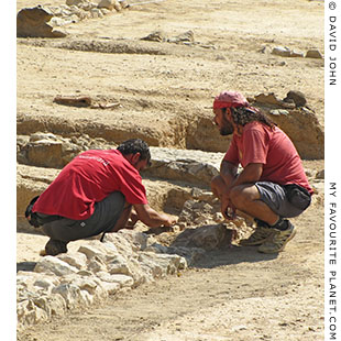 Greek archaeologists working at the site of Aristotle's Lyceum, Athens