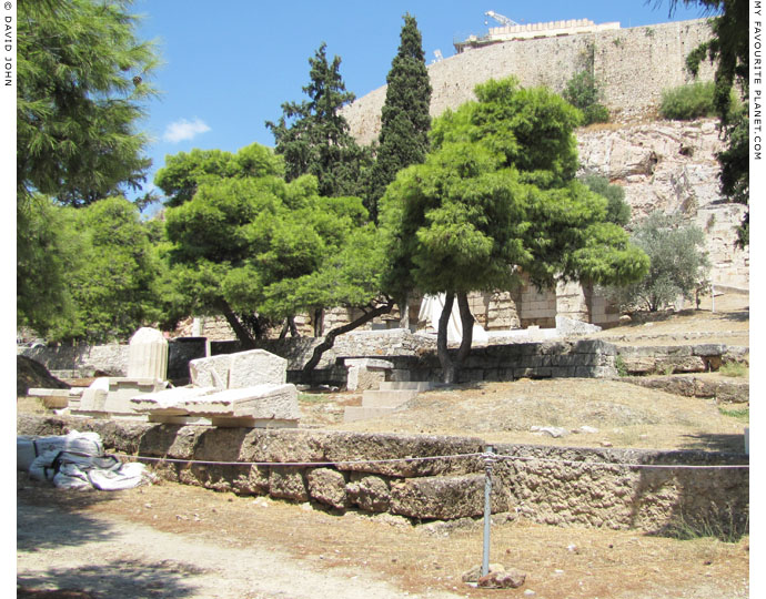 The foundations of the Choragic Monument of Nikias, Acropolis, Athens, Greece at My Favourite Planet