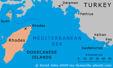 Map of Rhodes and Kastellorizo in the Dodecanese islands at My Favourite Planet