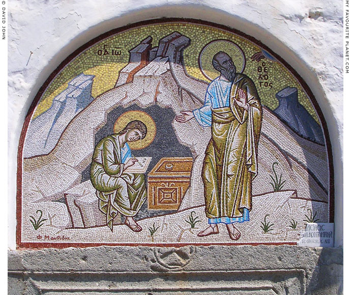 A mosaic of Saint John the Theologian dictating The Book of Revelation to his scribe in Patmos, Greece at My Favourite Planet