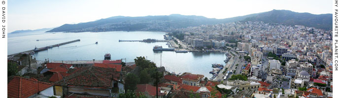Kavala's main harbour and city centre from the Kastro at My Favourite Planet