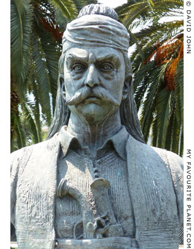 Bronze bust of Theodoros Kolokotronis in Kavala, Macedonia, Greece at My Favourite Planet