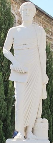 A. Alexiades's statue of Aristotle in full length in Polygyros, Halkidiki, Greece