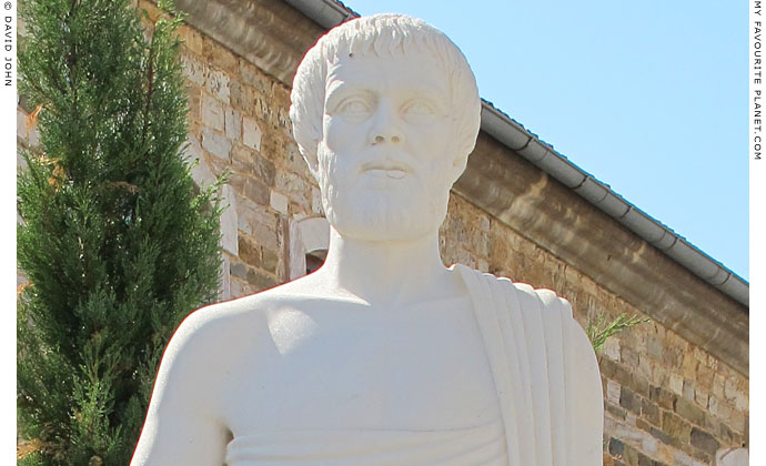 Statue of Aristotle by A. Alexiades outside Polygyros Town Hall, Halkidiki, Macedonia, Greece at My Favourite Planet