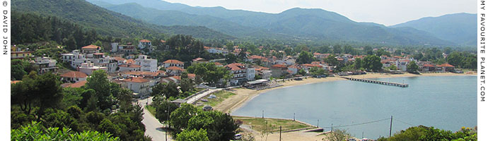 The village and beach of Olympiada from the ancient city of Stageira, Halkidiki, Macedonia, Greece at My Favourite Planet