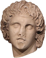 Marble head of Alexander the Great, Pella Archaeological Museum, Macedonia, Greece