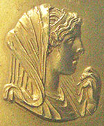Gold medallion depicting Olympias, wife of Philip II, mother of Alexander the Great