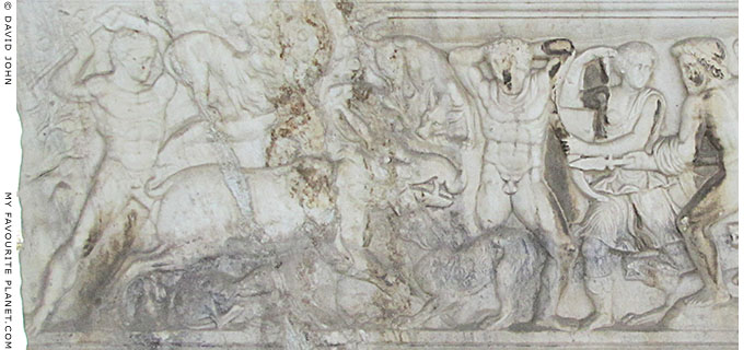 Marble relief depicting the mythical hunt of the Kalydonian Boar at My Favourite Planet