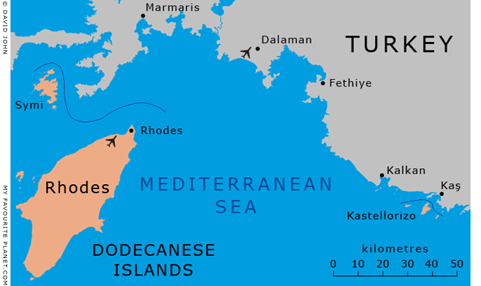 Map of Rhodes and Kastellorizo in the Dodecanese islands, Greece, at My Favourite Planet