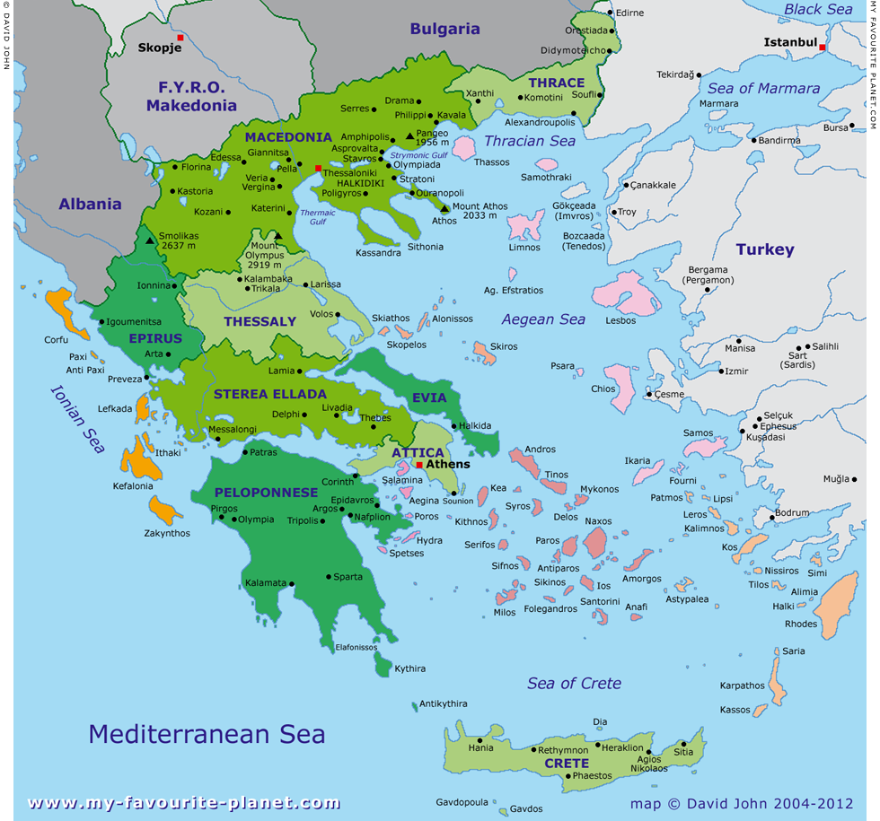 Map Of Greek Islands English