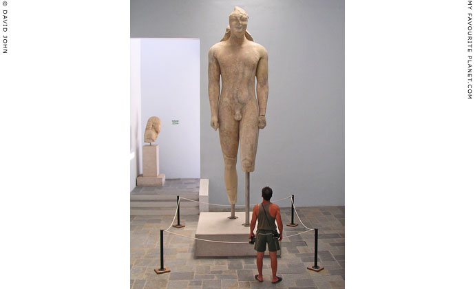 4.75 metre high kouros statue, Samos Archaeological Museum, Vathi, Samos island, Greece at My Favourite Planet