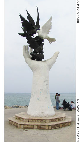 Peace sculpture in Kusadasi harbour, Turkey at My Favourite Planet
