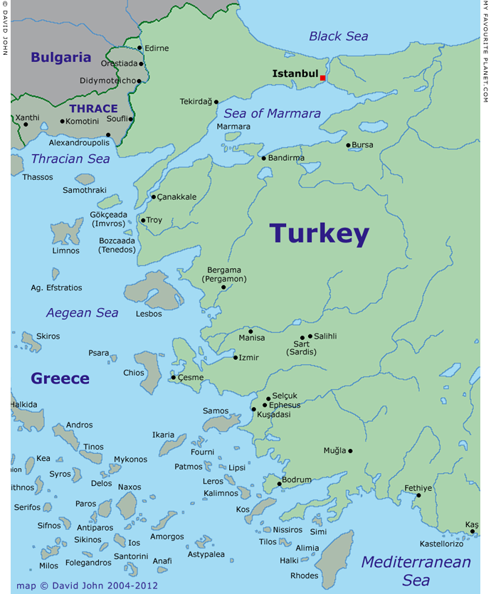 Map of western Turkey - My Favourite Planet