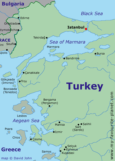 Map of north-western Turkey and the Aegean area at My Favourite Planet