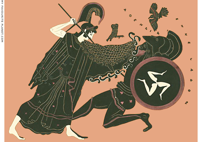 Athena defeats the Giant Encelados on a Tyrian black figure amphora