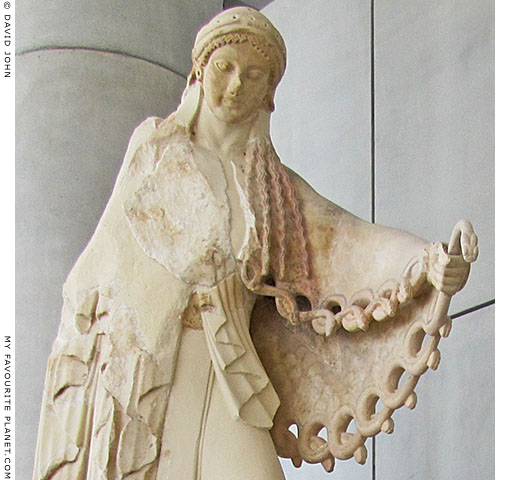 Archaic statue of Athena from the old Athena Temple of the Athens Acropolis