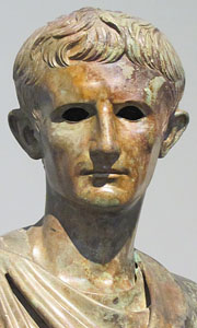 Detail of a statue of Emperor Augustus in the National Archaeological Museum, Athens, Greece