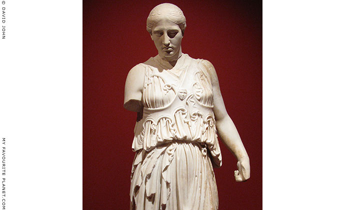 Statue of Athena with the cross-banded aegis from Pergamon, Turkey at My Favourite Planet