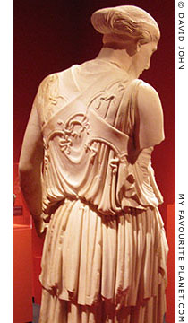 The back of the statue of Athena with the cross-banded aegis