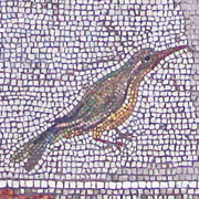 Bird on the floor mosaic of Pergamon Palace V at My Favourite Planet
