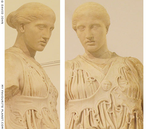 Close-up of the statue of Athena with the cross-banded aegis at My Favourite Planet