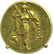 Gold stater showing a cult image of Athena with raised spear and shield