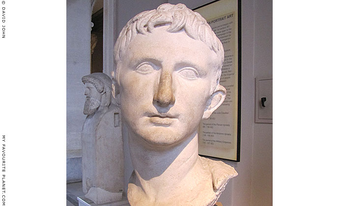 Marble bust of Roman Emperor Augustus at My Favourite Planet