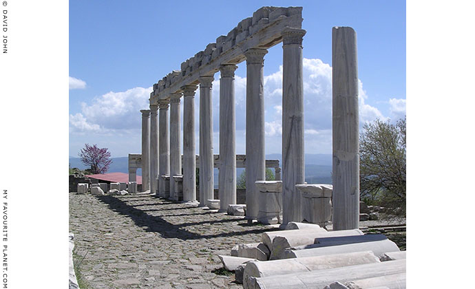 A colonnade of a stoa in the Trajaneum on the Pergamon Acropolis, Turkey at My Favourite Planet