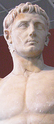 Detail of a statue of Emperor Augustus in Thessaloniki Archaeological Museum