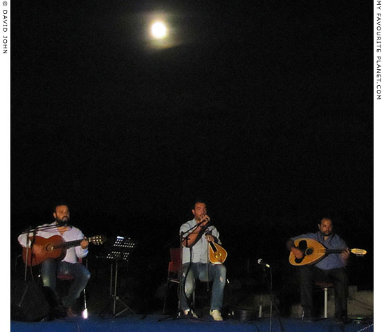 Giorgos Sfakianakis and his band play traditional Cretan music at the Full Moon Concert in Pella, Macedonia, Greece at My Favourite Planet