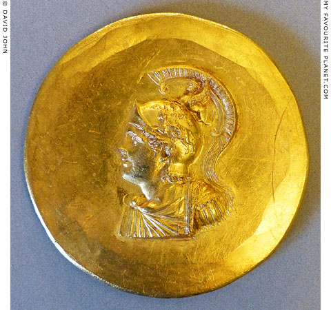 Alexander the Great wearing a helmet on an Abukir medallion at My Favourite Planet