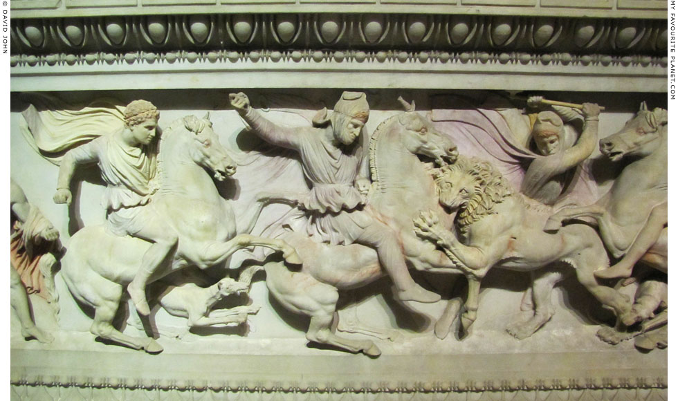 Detail of the lion hunt relief on the Alexander Sarcophagus at My Favourite Planet