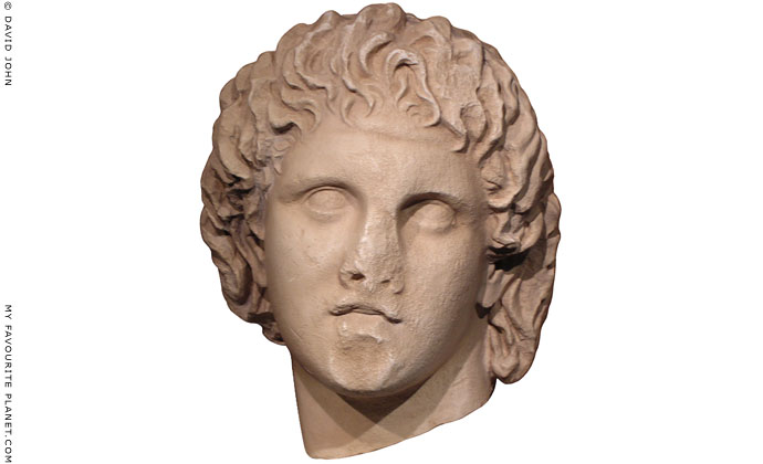 Marble head of Alexander the Great, Pella Archaeological Museum, Macedonia, Greece at My Favourite Planet