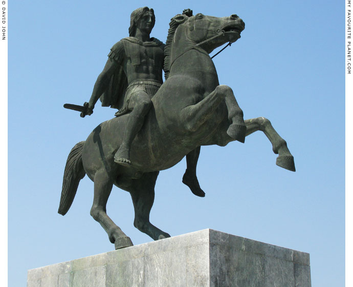 A modern equestrian statue of Alexander the Great, Thessaloniki, Macedonia, Greece at My Favourite Planet