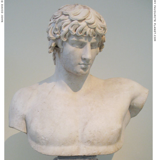 Marble bust of Antinous from Patras at My Favourite Planet
