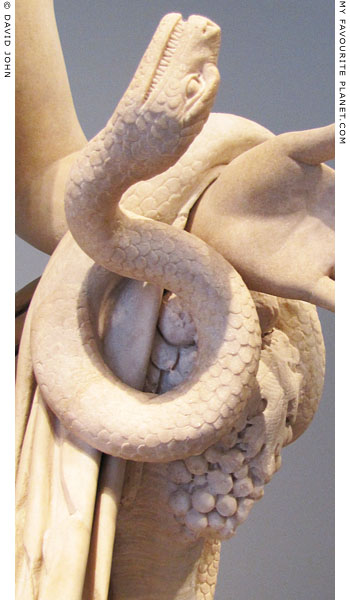 The snake of the Berlin Antinous statue at My Favourite Planet